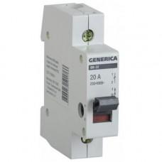 Выключатель нагрузки (мини-рубильник) ВН-32 1Р 20А GENERICA MNV15-1-020