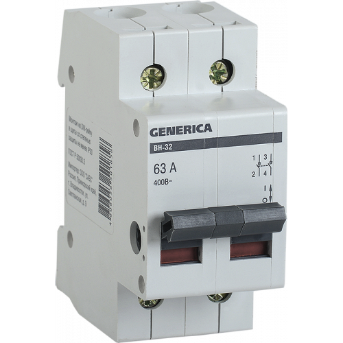 Выключатель нагрузки (мини-рубильник) ВН-32 2Р 63А GENERICA MNV15-2-063