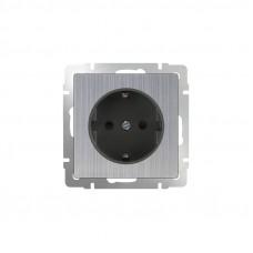 Розетка с заземлением / WL02-SKG-01-IP20 (глянцевый никель) a034176
