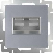 Розетка двойная Ethernet RJ-45 / WL06-RJ45+RJ45 (серебряный) a033760