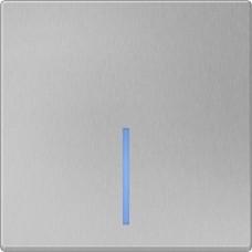 Выключатель одноклавишный проходной с подсветкой / WL06-SW-1G-2W-LED (серебряный) a029825