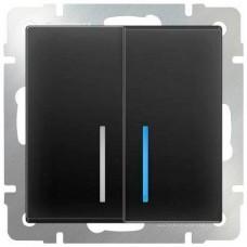 Выключатель двухклавишный проходной с подсветкой / WL07-SW-2G-2W-LED (серо-коричневый) a029876