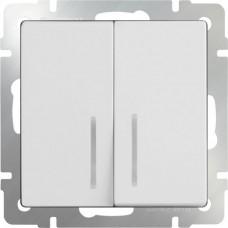 Выключатель двухклавишный проходной c  с подсветкой / WL03-SW-2G-2W-LED-ivory (слоновая кость) a030806