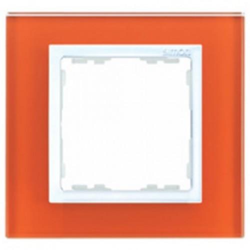 Рамка на 1 пост, S82N, оранжевый - белый (стекло) 82617-65