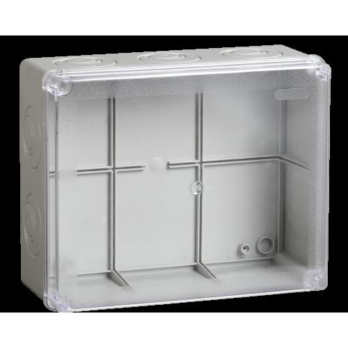 Коробка КМ41275 распаячная для о/п 240х195х90 мм IP44 (RAL7035, прозр. кр., кабельные вводы 5 шт) UKO10-240-195-090-K51-44