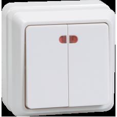 ВС20-2-1-ОБ Выключатель 2кл с инд. 10А ОКТАВА (белый) EVO21-K01-10-DC