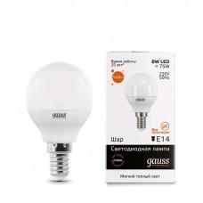 Лампа Gauss LED Elementary Globe 8W E14 2700K 1/10/50 53118