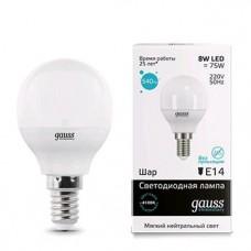 Лампа Gauss LED Elementary Globe 8W E14 4100K 1/10/50 53128