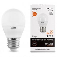 Лампа Gauss LED Elementary Globe 8W E27 2700K 1/10/50 53218