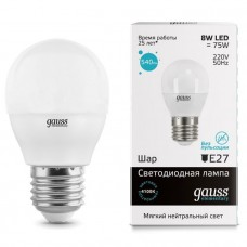 Лампа Gauss LED Elementary Globe 8W E27 4100K 1/10/50 53228