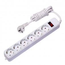 Сетевой фильтр 6*3м 16А/3,2кВт с выкл. c/з ПВС 3х1,0 Блокбастер XL EKF PROxima UFA16-310-6-03