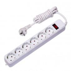 Сетевой фильтр 6*3м 10А/2,2 кВт с выкл. c/з ПВС 3х0,75 Блокбастер EKF PROxima UFP10-375-6-03