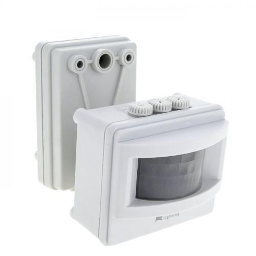 ИК датчик движения MS-01 бел. на прожектор 1200Вт 120гр. до 12м IP44 EKF PROxima dd-ms-01-w