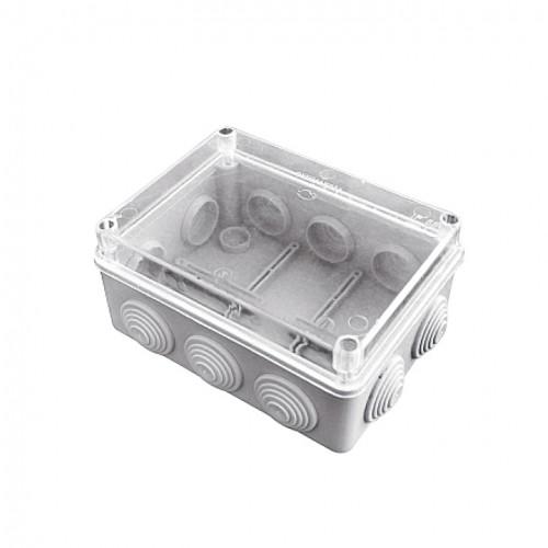 Коробка распаячная КМР-050-042пк пылевлагозащищенная, 10 мембранных вводов, уплотнительный шнур, прозрачная крышка (190х140х70) EKF PROxima plc-kmr-050-042pk