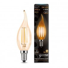 Лампа Gauss LED Filament Candle tailed E14 5W 4100K Golden 1/10/50 104801805