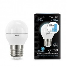 Лампа Gauss LED Globe E27 7W 4100K step dimmable 1/10/100 105102207-S