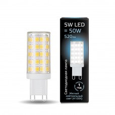 Лампа Gauss LED G9 AC185-265V 5W 4100K керамика 1/10/200 107309205