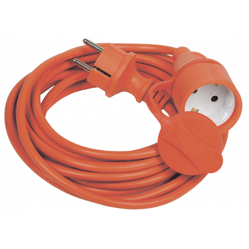 Шнур УШ-01РВ оранж. с вилкой и розеткой 2Р+РЕ/5 метров 3х1,0 мм2 IP44 IEK WUP10-05-K09-44