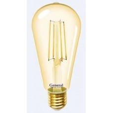 Лампа светодиодная GLDEN-ST64S-8-230-E27-2700 Золотая 655301