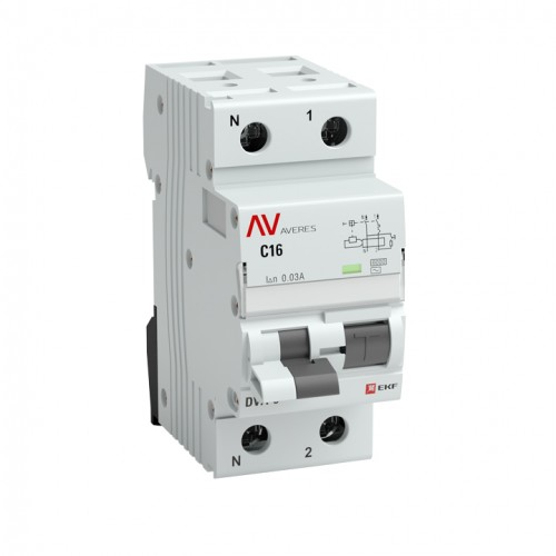 Дифференциальный автомат DVA-6 1P+N 20А (C) 30мА (AC) 6кА EKF AVERES rcbo6-1pn-20C-30-ac-av