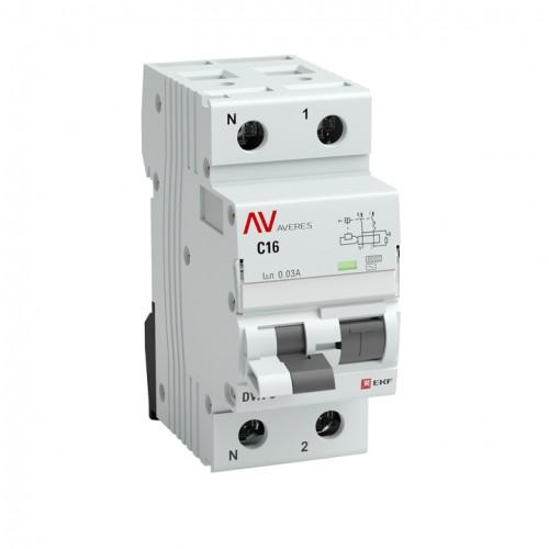 Дифференциальный автомат DVA-6 1P+N 40А (C) 30мА (AC) 6кА EKF AVERES rcbo6-1pn-40C-30-ac-av
