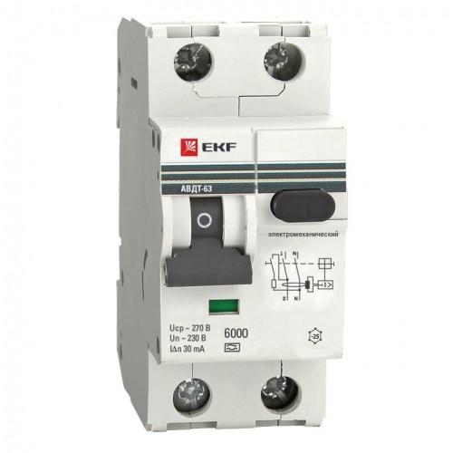 Дифференциальный автомат АВДТ-63 32А/30мА (характеристика C, эл-мех тип A) 6кА EKF PROxima DA63-32-30