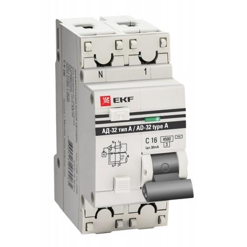 Дифференциальный автомат АД-32 1P+N 16А/10мА (тип А) EKF PROxima DA32-16-10-a-pro