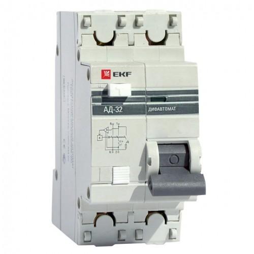 Дифференциальный автомат АД-32 1P+N 63А/30мА (хар. C, AC, электронный, защита 270В) 4,5кА EKF PROxima DA32-63-30-pro