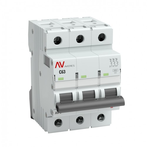 Выключатель автоматический AV-6 3P 16A (C) 6kA EKF AVERES mcb6-3-16C-av