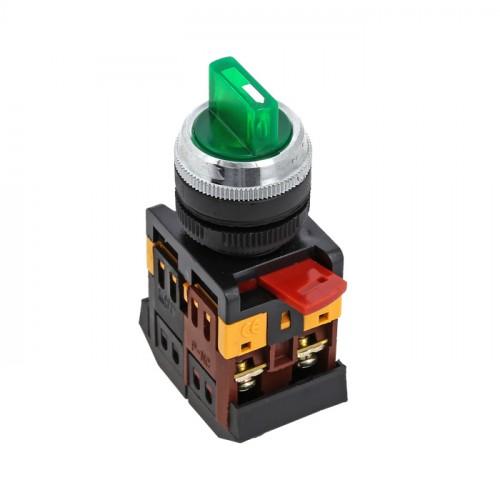 Переключатель ANC-22 3P зеленый с подсветкой 220В NO+NC EKF psw-ans-3p-g-220