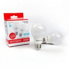 Лампа светодиодная Gauss LED Elementary A60 11W E27 4100K (2 лампы в упаковке) 23221P