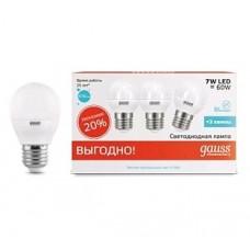 Лампа светодиодная Gauss LED Elementary G45 7W 4100K E27 Globe (3 лампы в упаковке) 53227T