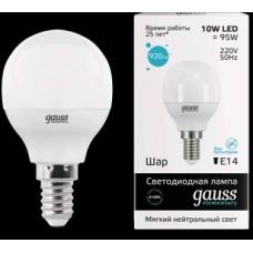 Лампа Gauss LED Elementary Globe 10W E14 4100K 53120