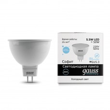 Лампа светодиодная Gauss LED Elementary MR16 5.5W 6500К GU5.3 матовая 13536