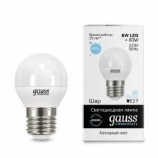 Лампа светодиодная Gauss LED Elementary G45 6W 6500K E27 Globe 53236