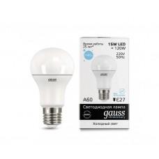Лампа светодиодная Gauss LED Elementary A60 15W E27 6500K 23235