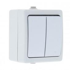 Венеция Выключатель 2-клавишный 10А IP54 белый EKF EVV10-023-10-54