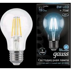 Лампа Gauss LED Filament A60 E27 8W 4100К 1/10/40 102802208