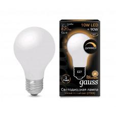 Лампа Gauss LED Filament A60 OPAL dimmable E27 10W 2700К 1/10/40 102202110-D