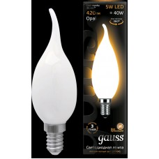 Лампа Gauss LED Filament Candle Tailed OPAL E14 5W 2700К 1/10/50 104201105