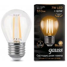Лампа Gauss LED Filament Globe E27 7W 2700K 1/10/50 105802107