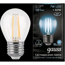 Лампа Gauss LED Filament Шар E27 7W 580lm 4100K 1/10/50 105802207