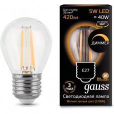 Лампа Gauss LED Filament Globe dimmable E27 5W 2700K 1/10/50 105802105-D