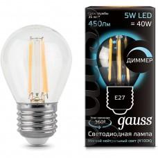 Лампа Gauss LED Filament Globe dimmable E27 5W 4100K 1/10/50 105802205-D