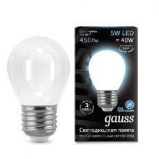 Лампа Gauss LED Filament Шар OPAL E27 5W 450lm 4100K 1/10/50 105202205