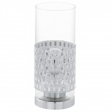 94619 Настольная лампа TORVISCO, 1x60W (E27), O110, сталь, хром/стекло, прозрачный 94619