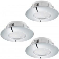 95822 Комплект светодиод. встраив. светильников PINEDA, 3х6W(LED), O78, IP44, пластик, хром 95822