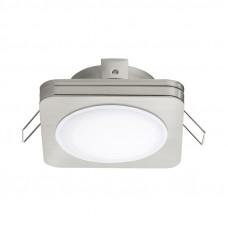 95921 Светодиодный встраиваемый светильник PINEDA 1, 1х6W(LED), 82х82, IP44, сталь, пластик, никель 95921
