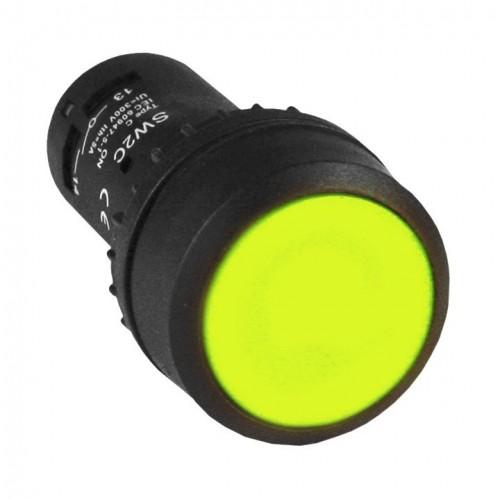 Кнопка SW2C-11 с фиксацией желтая NO+NC EKF sw2c-11f-y