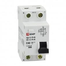 Диф. автомат 1P+N 40А 30мА тип АС х-ка C эл. 4,5кА АД-12 EKF Basic DA12-40-30-bas